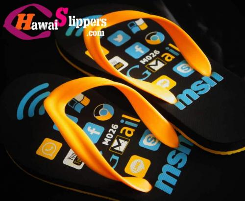 Men Fashionable Social Icons Printed Rubber Eva Slippers Made In Thailand